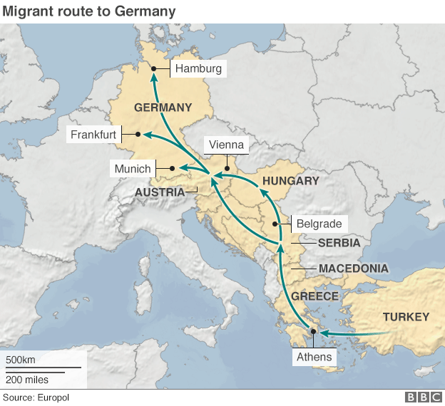 5.9.2015 migrant route to germany